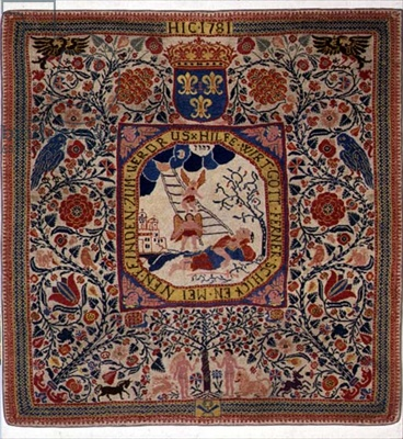Handknitted carpet depicting Jacob's dream, Alsace, 1781 (wool).