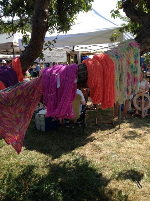 RainCityKnits yarn in an apple tree.